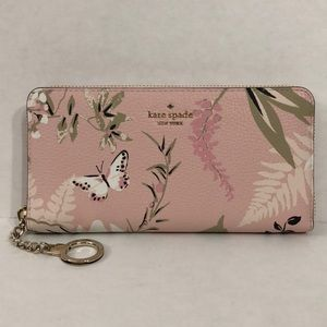 Kate Spade large pink botanical zip around wallet